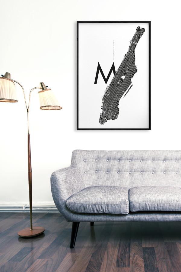 manhattan m white typografie poster online kaufen yourownage. Black Bedroom Furniture Sets. Home Design Ideas